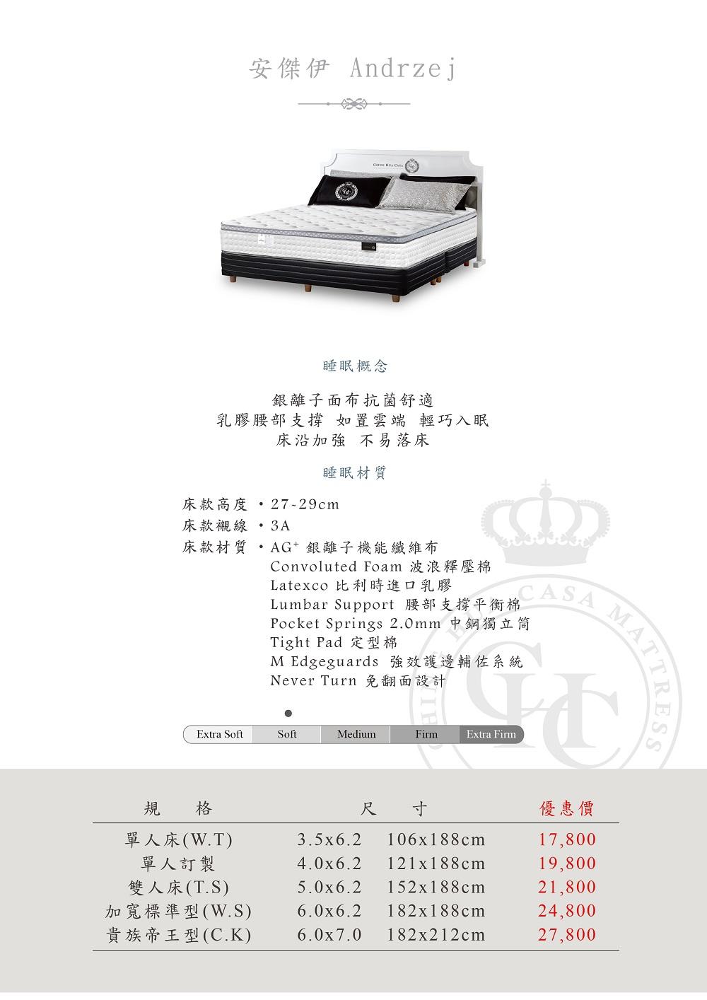 晶華CHC床墊安傑伊|2021新價格