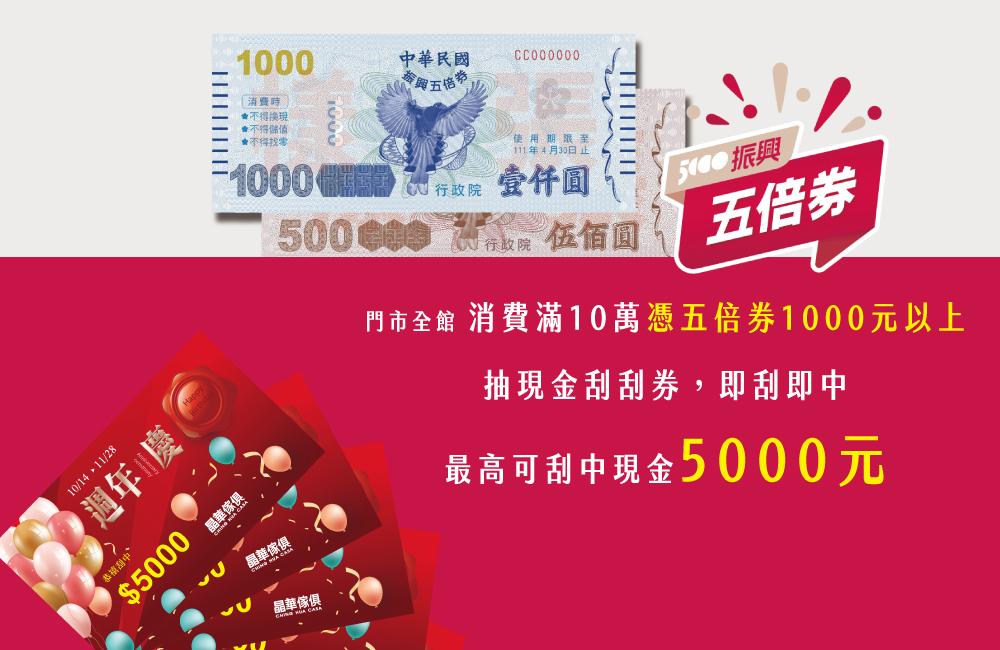 振興五倍券加碼〈2021週年慶〉刮現金